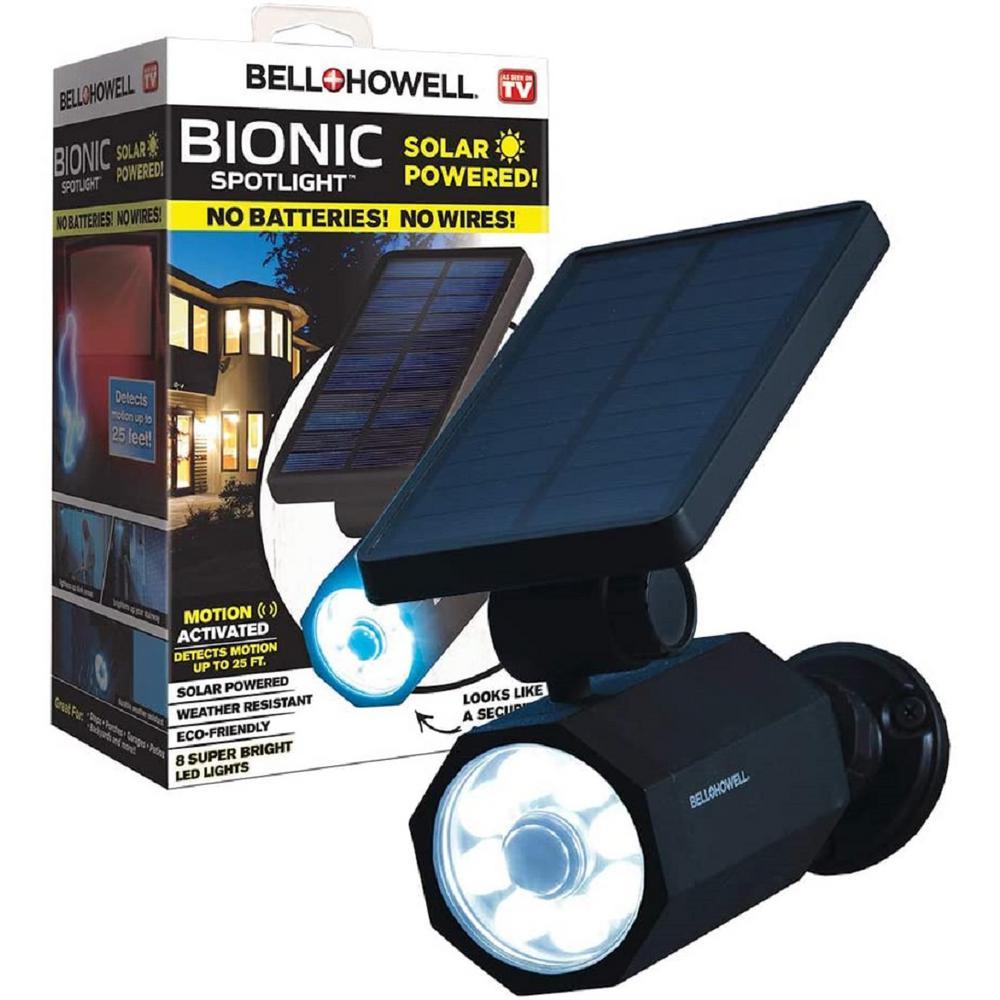 Bell Howell 4 Watt Solar Powered Motion Activated Integrated Led Black Outdoor Bionic Spotlight Night Light 2963 The Home Depot