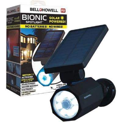 4-Watt Solar Powered Motion Activated Integrated LED Black Outdoor Bionic Spotlight Night Light
