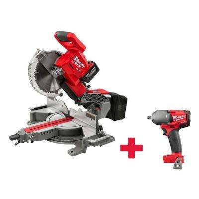 M18 18-Volt FUEL Lithium-Ion Cordless Brushless 10 in. Dual Bevel Sliding Compound Miter Saw Kit with M18 1/2 in. Impact