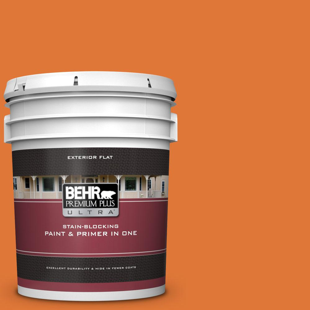 Behr Premium Plus Ultra 5 Gal 240b 7 Carrot Stick Flat Exterior Paint And Primer In One 485305 The Home Depot