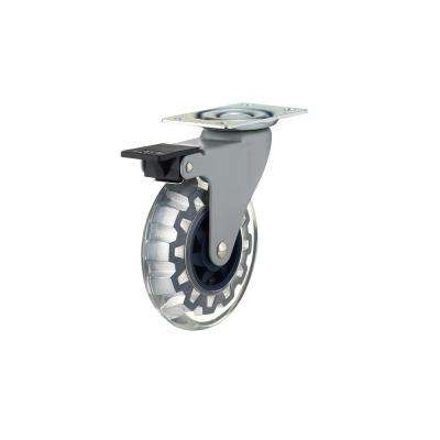 3-15/16 in. Clear and Royal Blue Swivel with Brake Plate Caster, 132 lb. Load Rating