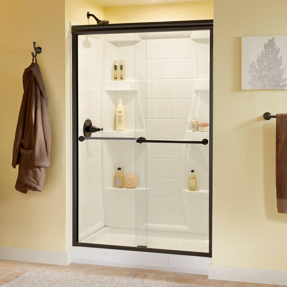 Delta Crestfield 48 in. x 70 in. Semi-Frameless Sliding Shower Door in Bronze with Clear Glass