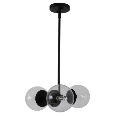 Gabriel 3-Light Black and Gold Chandelier with Glass Shade