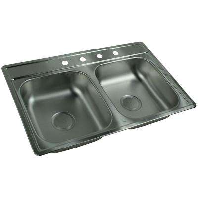 FHP Double Drop-In Satin Stainless Steel 33 Inch 4 Hole Double Bowl Kitchen Sink