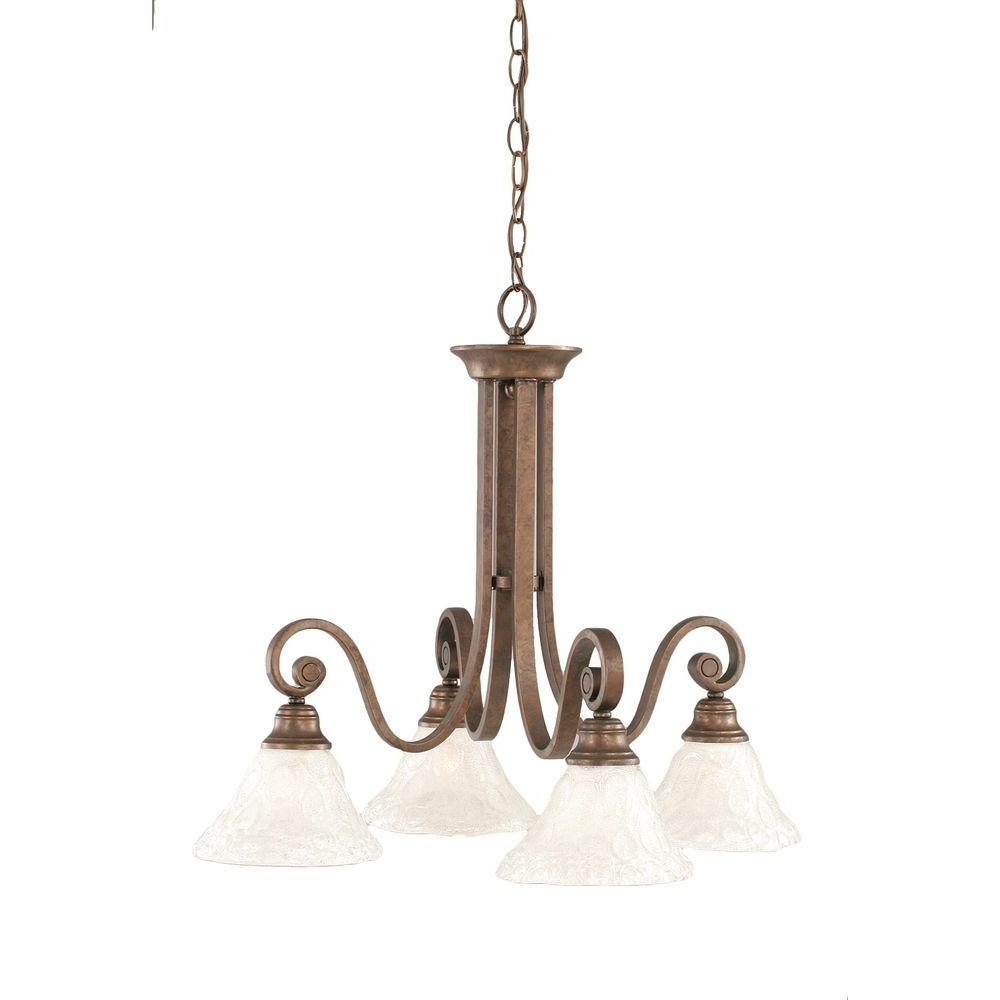 Concord 4-Light Bronze Chandelier with Italian Bubble Glass