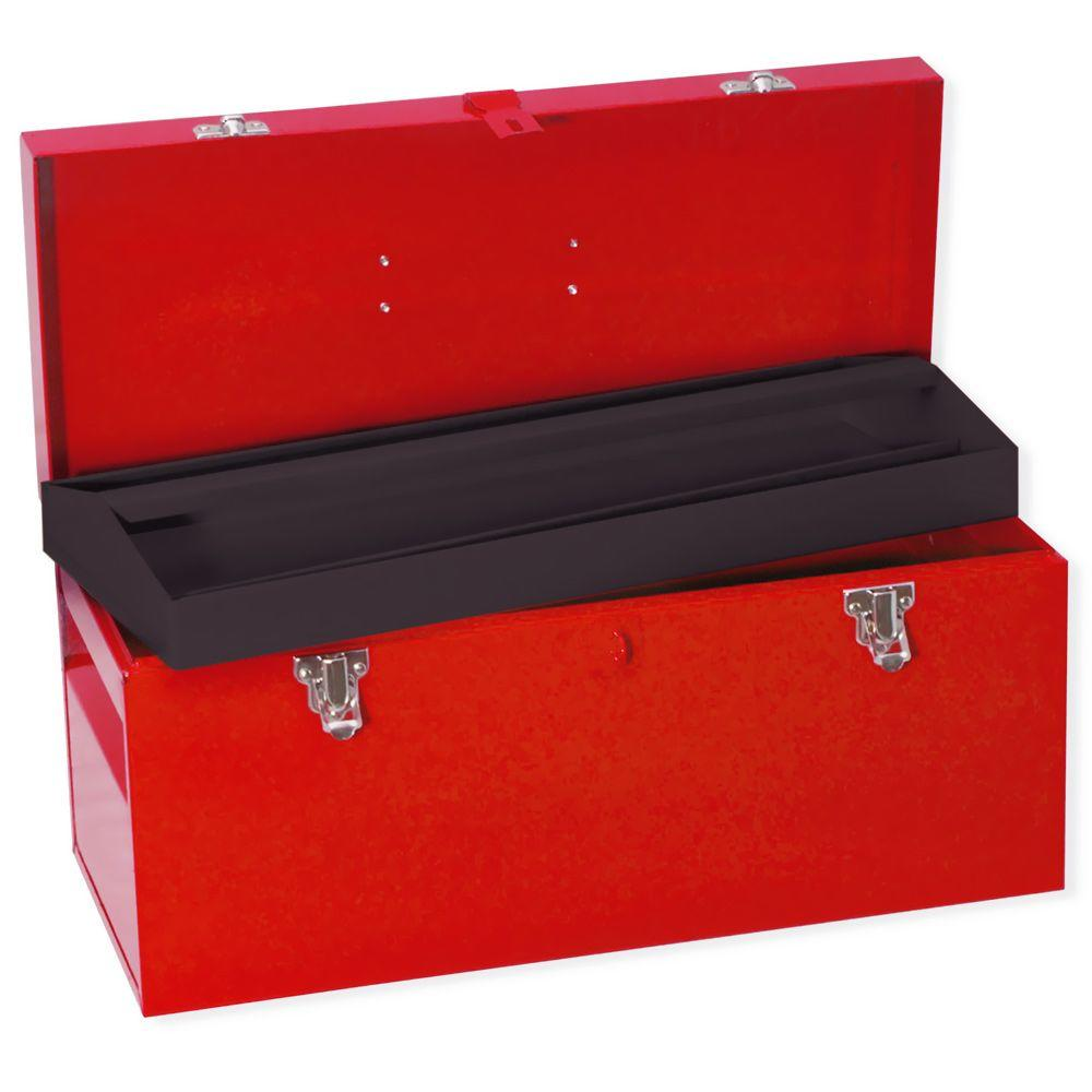 URREA Heavy Duty Metal Tool Box - 20 in. X 8 in. X 9 in., Red