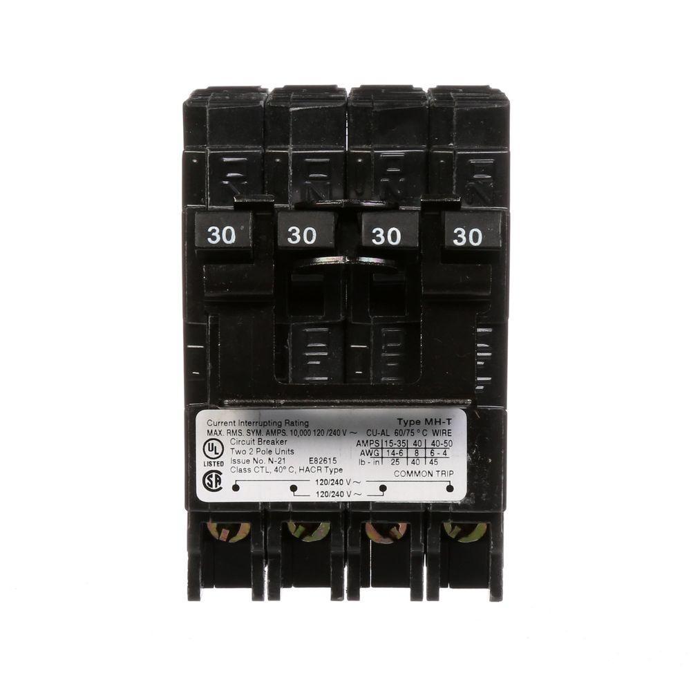 (2) 30 Amp Double-Pole Type MP-T Quad Plug-In Circuit Breaker