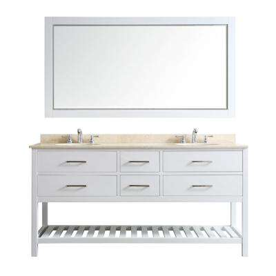 Foligno 72 in. W x 22 in. D x 36 in. H Vanity in White with Marble Vanity with White Basin and Mirror