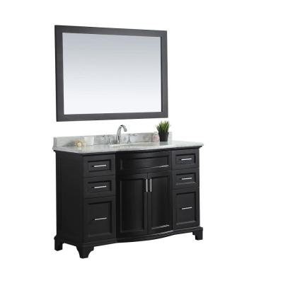 Jason 48 in. W x 22 in. D Vanity in Espresso with Marble Vanity Top in White with White Basin