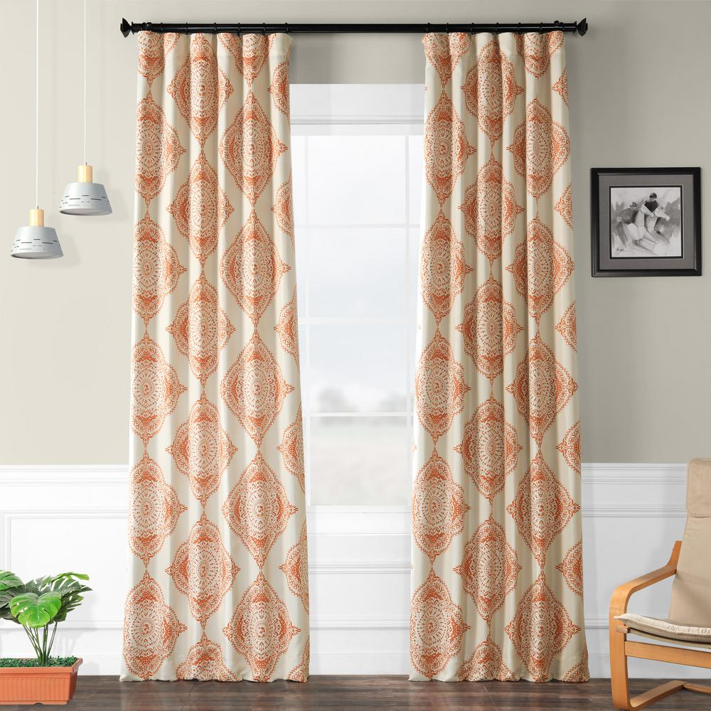 Exclusive Fabrics & Furnishings Semi-Opaque Henna Orange Blackout Curtain - 50 in. W x 96 in. L (Panel)