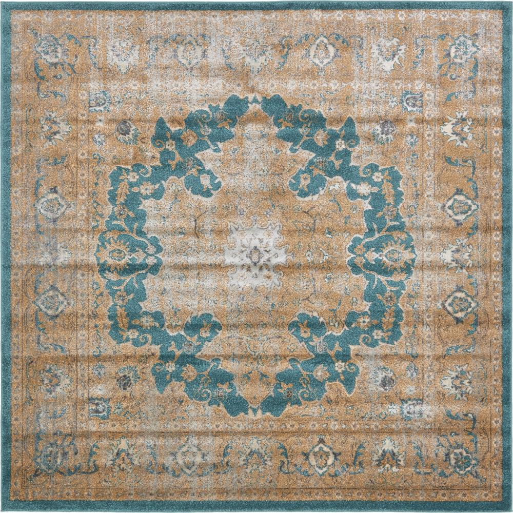 Unique Loom Stockholm Teal 8 Ft. X 8 Ft. Square Area Rug
