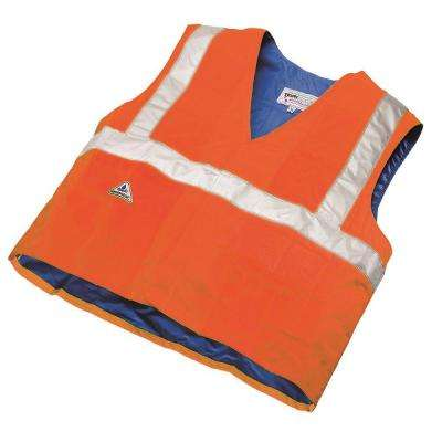 X-Large Orange/Peaches Traffic Safety Cooling Vest with High Visibility