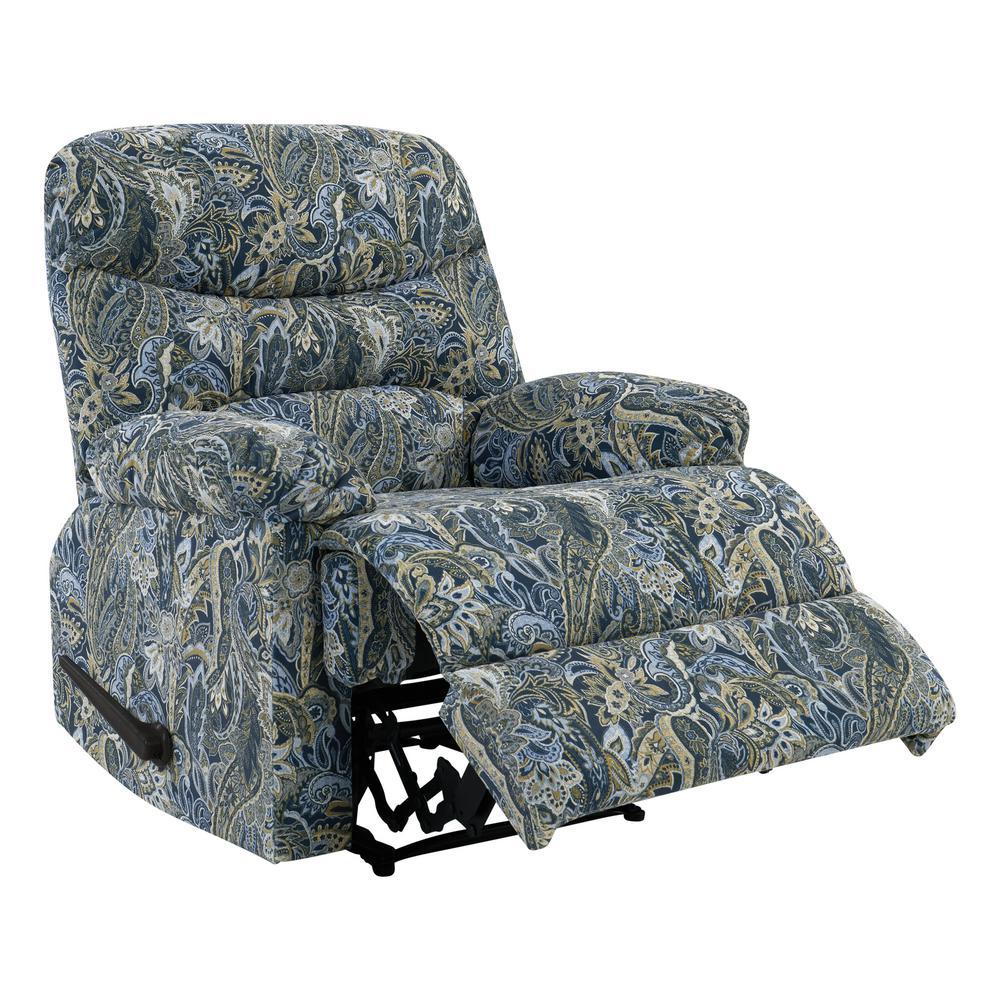 Blue Paisley Velvet Wall Hugger Reclining Chair