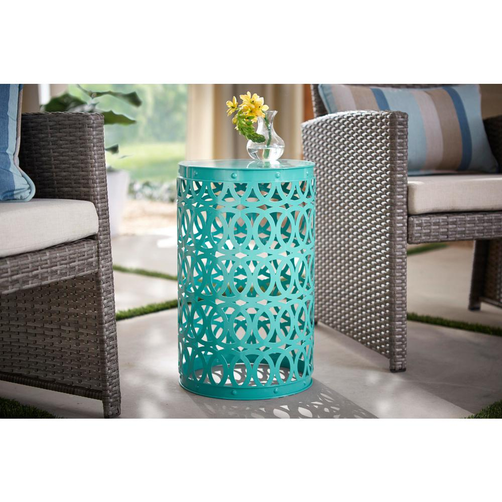 Astonishing Hampton Bay 19 4 In Haze Turquoise Blue Metal Outdoor Patio Garden Stool Gmtry Best Dining Table And Chair Ideas Images Gmtryco