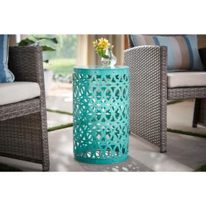 19.4 in. Haze Teal Blue Metal Outdoor Patio Garden Stool