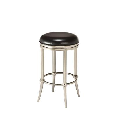 Cadman 26 in. Dull Nickel and Black Backless Counter Stool