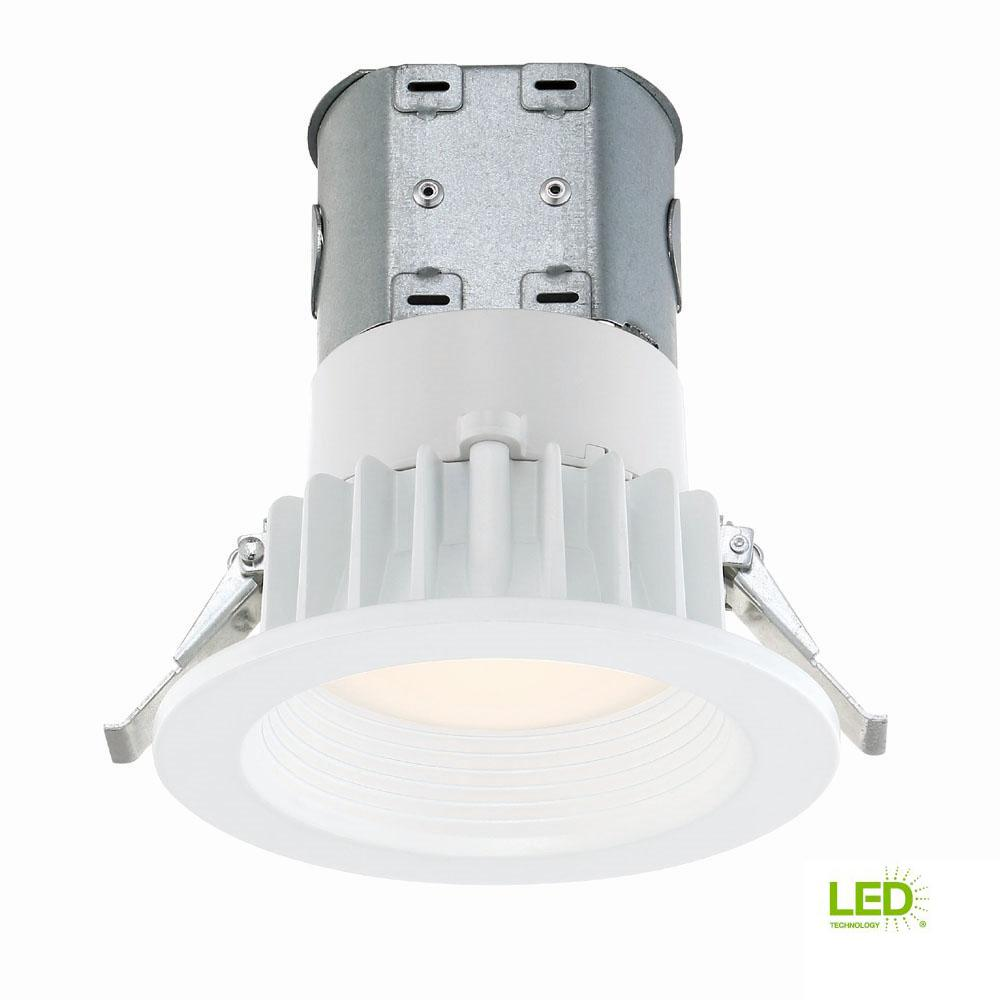 Commercial Electric Easy-Up 4 in. White Baffle Integrated LED Recessed Kit at 91 CRI, 3000K, Soft White