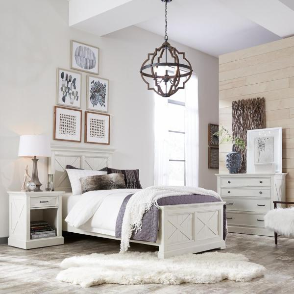 Home Styles Seaside Lodge 2-Piece Hand Rubbed White Queen Bedroom Set