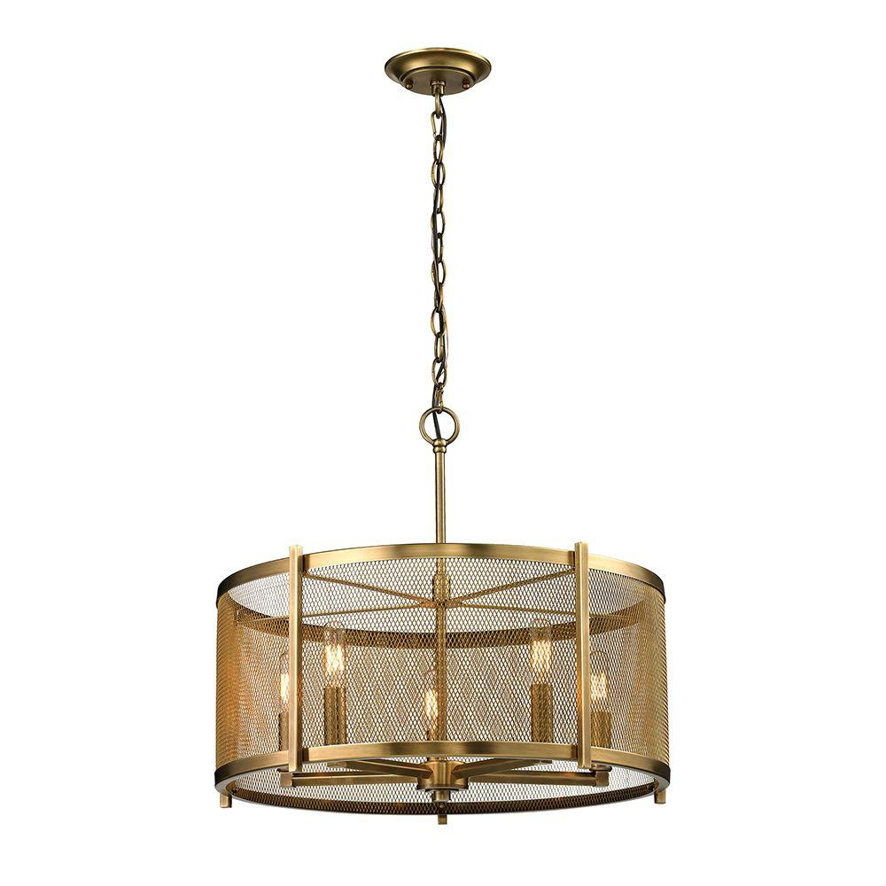 Titan Lighting Cornet Collection 5-Light Aged Brass Pendant