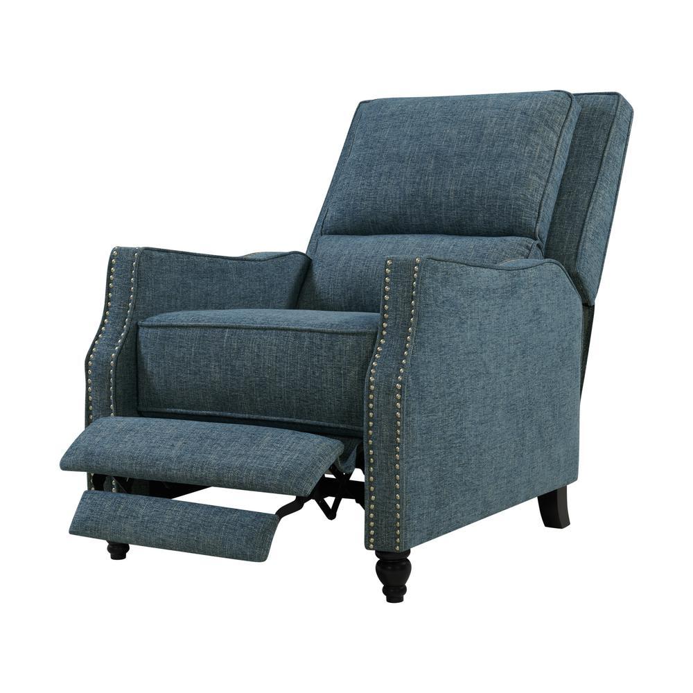 Caribbean Blue Multi-warp Chenille Push Back Recliner Chair with Nailhead Trim