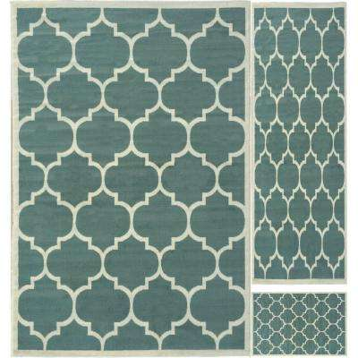 Paterson Collection Contemporary Moroccan Trellis Design Sage Green 5 ft. x 7 ft. 3-Piece Rug Set