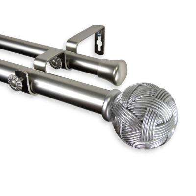 28 in. - 48 in. Telescoping 1 in. Double Curtain Rod Kit in Satin Nickel with Twine Finial