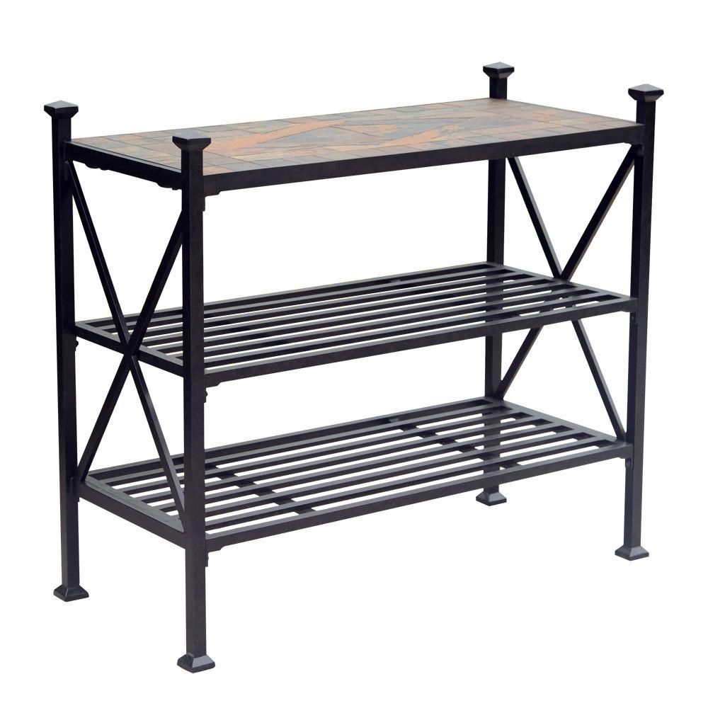 Aluminum Slate Patio Side Table