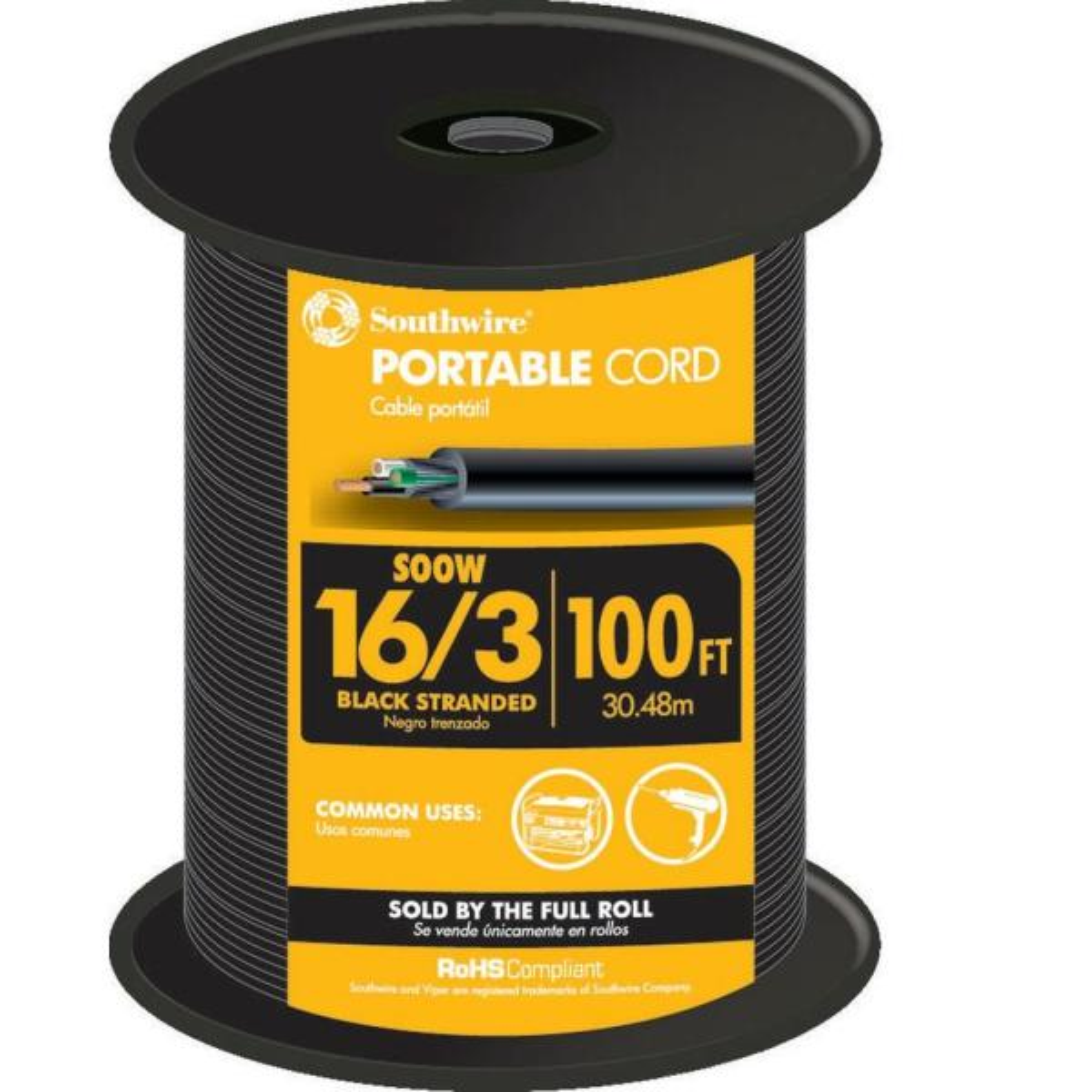 100 ft. 16/3 600-Volt CU Black Flexible Portable Power SOOW Cord