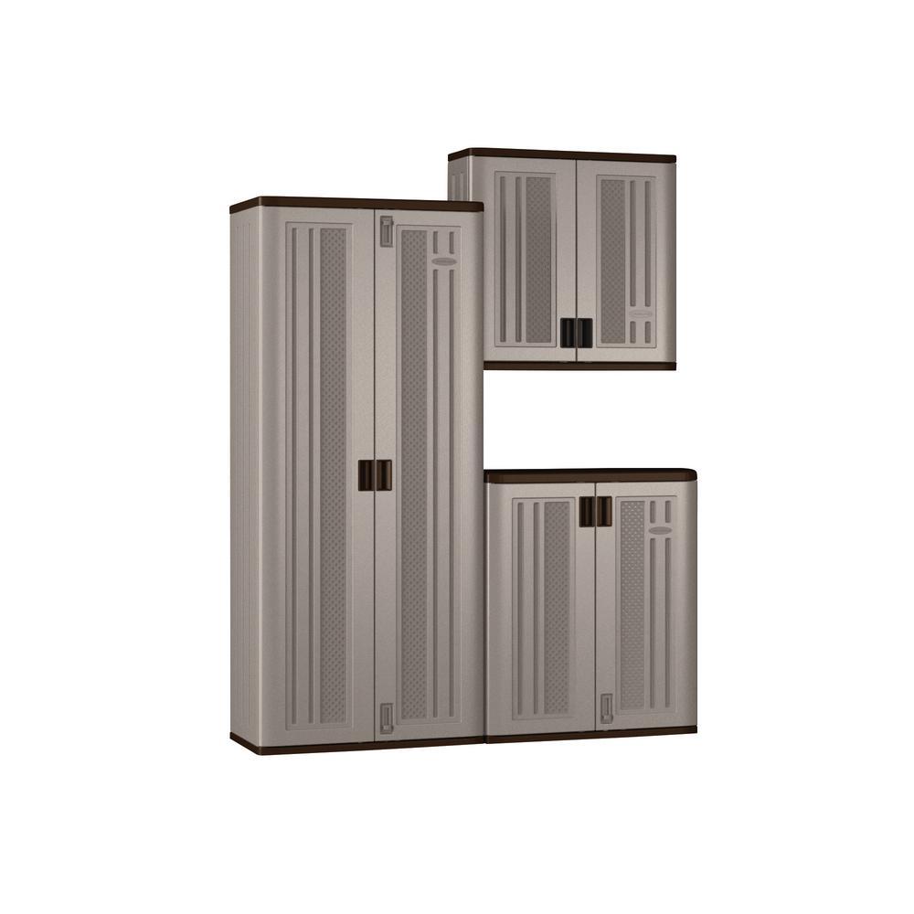 Suncast 72 In X 90 20 25 Resin Garage Cabinet Set