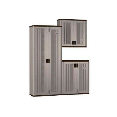 72 in. x 90 in. x 20.25 in. Resin Garage Cabinet Set in Platinum (3-Piece)