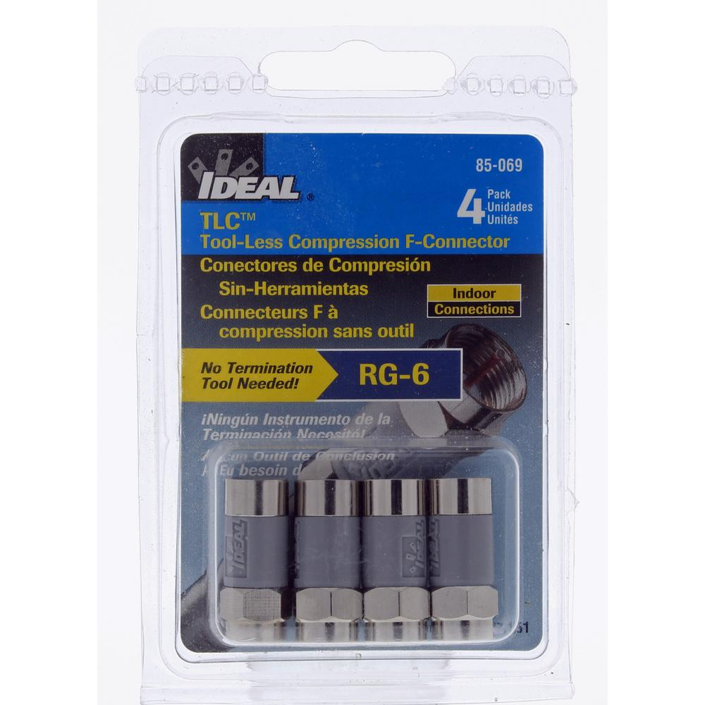 ideal rg6 tlc tool less compression f connector 4 pack 85 069 the home depot. Black Bedroom Furniture Sets. Home Design Ideas