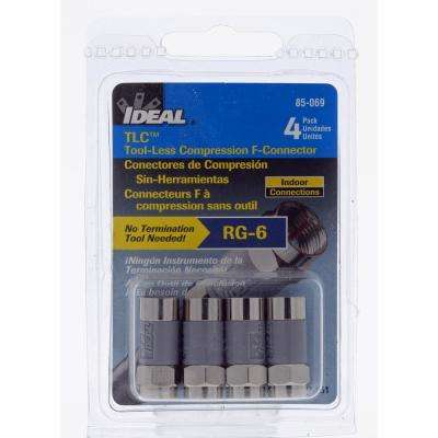 RG6 TLC (Tool-Less Compression) F-Connector (4-Pack)