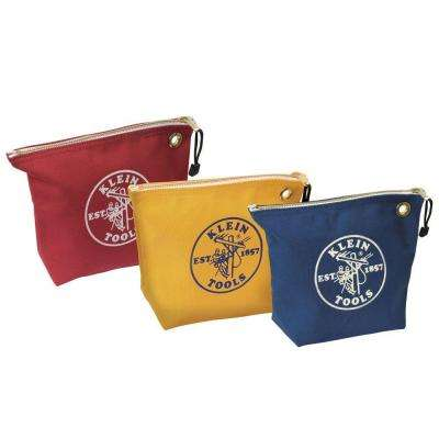 10 in. Assorted Canvas Zipper Bags 3-Pack