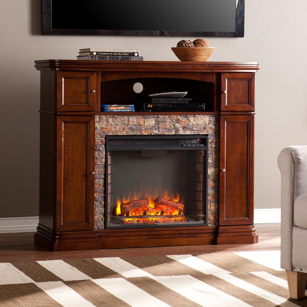 Southern Enterprises Westchester 47 5 In W Faux Stone Electric Media Fireplace In Espresso