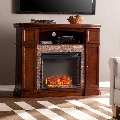 Westchester 47.5 in. W Faux Stone Electric Media Fireplace in Espresso