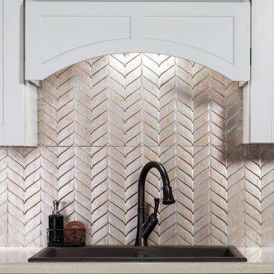 Cheveron 24.25 in. x 18.25 in. Vinyl Backsplash in Brushed Nickel