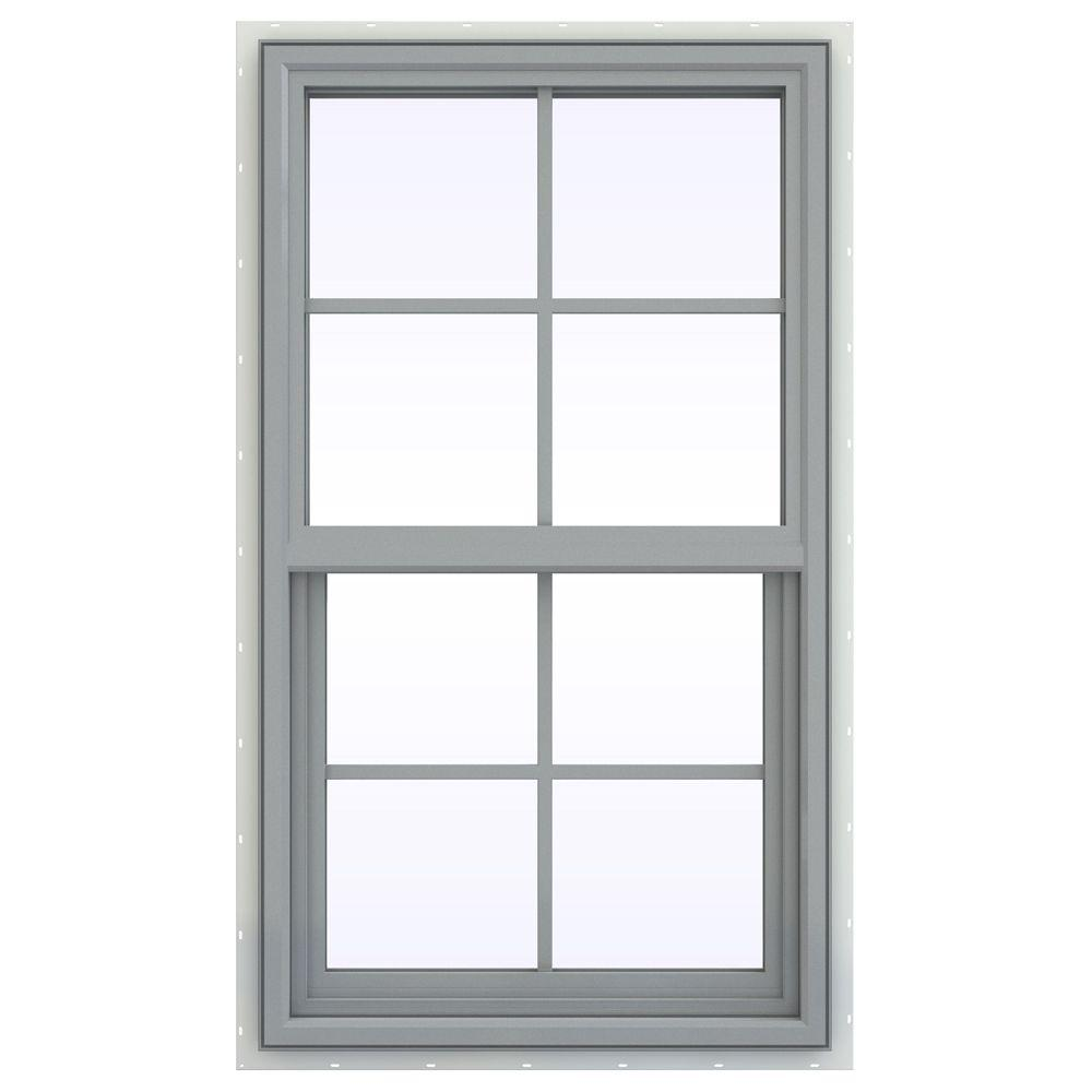JELD-WEN 23.5 in. x 47.5 in. V-4500 Series Single Hung Vinyl Window with Grids - Gray