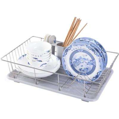 Stainless Steel Dish Rack with Plastic Drain Board and Utensil Cup