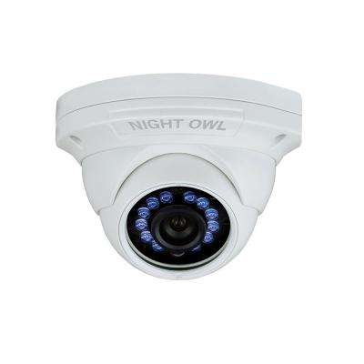 1080p Wired HD Analog White Audio Enable Dome Standard Surveillance Camera with 100 ft. Night Vision and 60 ft. of Cable