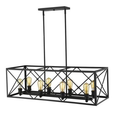 Brooklyn 8-Light Matte Black Island Pendant With Metal Framework Shade