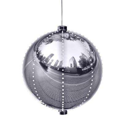 Alpine Corporation Hanging Christmas Ball Ornament with Chasing LED Lights, Plug-In Festive Indoor Holiday Décor, Silver