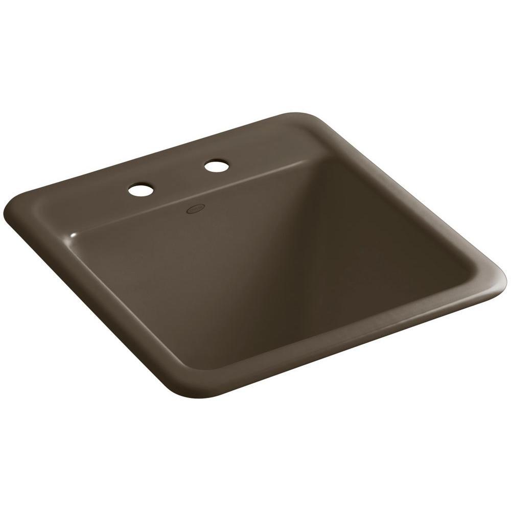 Park Falls 22 in. x 21 in. Cast Iron Drop-In/Undermount Utility Sink in Suede
