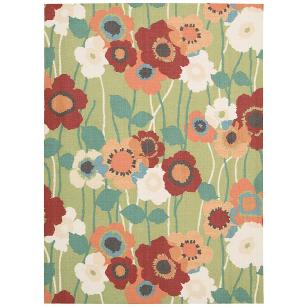 Waverly Pic-A-Poppy Seaglass 5 ft. x 7 ft. Indoor/Outdoor Area Rug