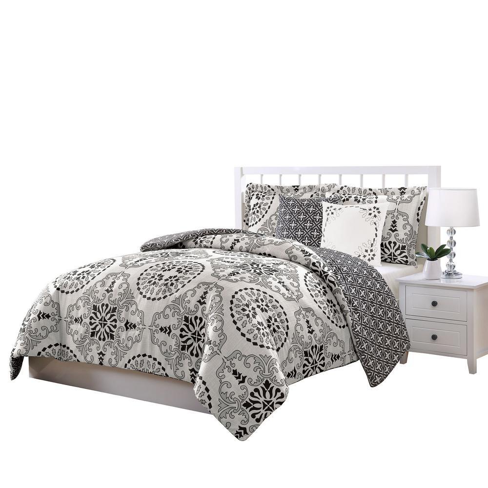 Bailey Gray 5-Piece Reversible Full and Queen Comforter Set