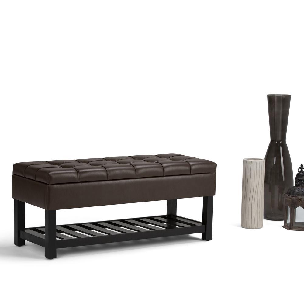 Simpli Home Saxon Chocolate Brown Pu Faux Leather Storage