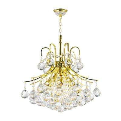 Empire Collection 6-Light Polished Gold and Clear Crystal Chandelier