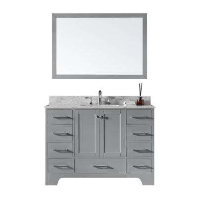 48 in. Single Sink Bathroom Vanity in Taupe Grey with Carrara White Marble Top and Mirror Set