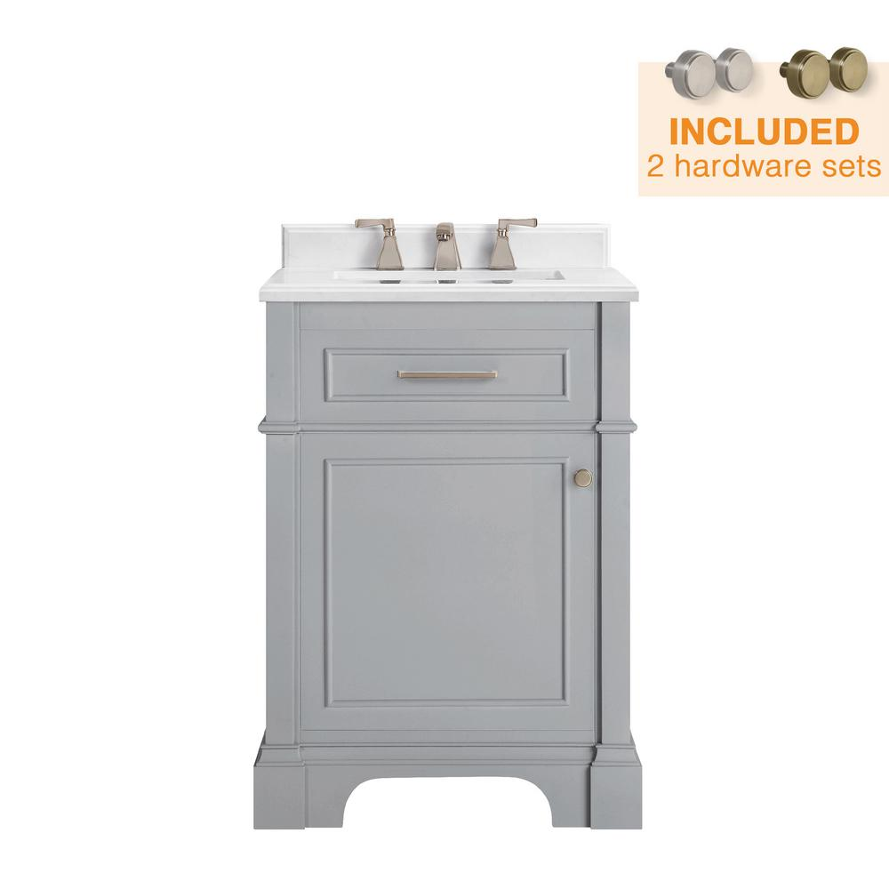 Home Decorators Collection Melpark 24 In W X 20 In D Bath Vanity In Dove Grey With A Cultured Marble Vanity Top In White With White Sink