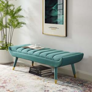 MODWAY Guess Teal Channel Tufted Performance Velvet Accent ...