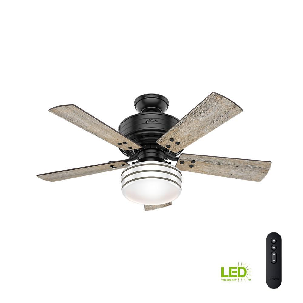 Indoor Outdoor Matte Black Ceiling Fan With Light Kit And Handheld Remote Control